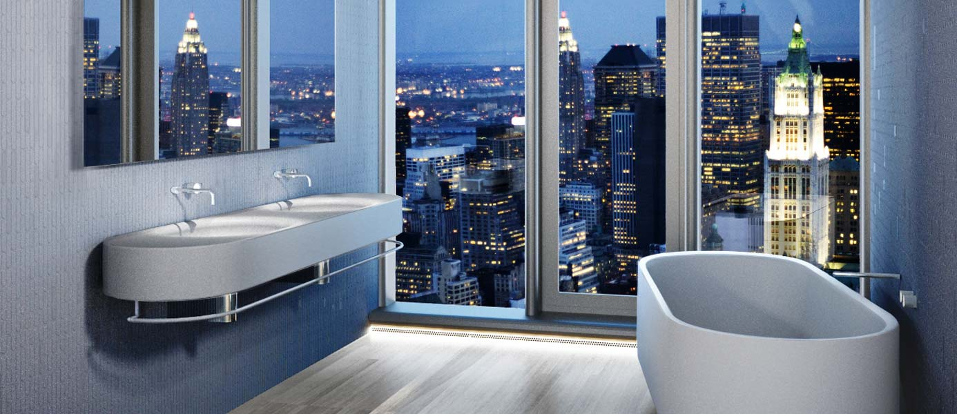 56 Leonard Master Bathroom Night View Rendering