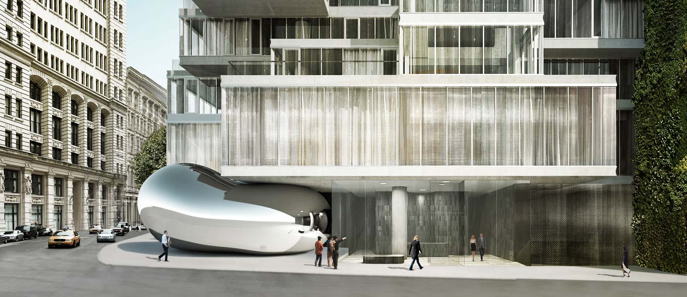 56 Leonard Lobby—street view featuring Anish Kapoor sculpture and vertical garden